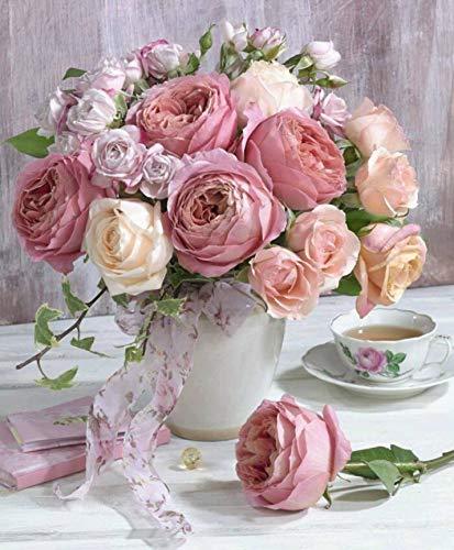 NAXIEE DIY Diamant Malerei,5D Diamond Painting Vollbohrer Stickerei rosa Rose Blumen in vase gem?lde Kreuzstich Kits Home Wand Decor(30 * 40cm) -
