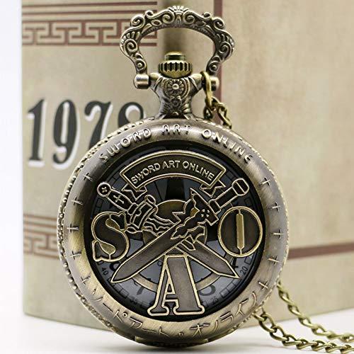 FHLKP AntikesSchwert Art Online Bronze Taschenuhr Vintage Halskette Anhänger Kette Quarz Unisex Geschenke