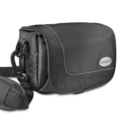 Mantona Camcorder und Actioncam Tasche sportlich kompakte Umhängetasche - mit Gürtelschlaufe - Sony HDR CX625 PJ410 FDR AX33 - Panasonic HC V180 V777 V808 VX11 - GoPro Hero5 Hero6 Fusion 360 usw.