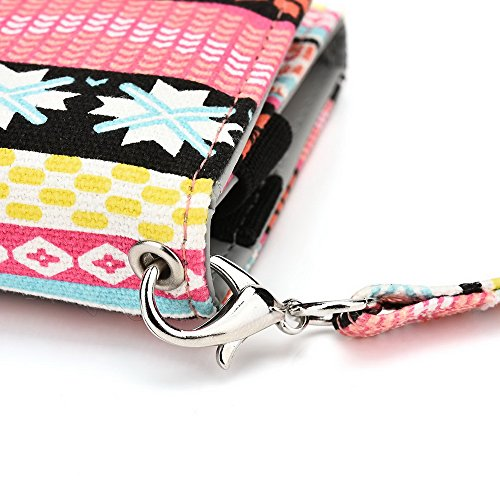 Kroo Lien de série universel femmes portefeuille Wristlet sac bandoulière compatible avec de nombreux 4à 12,7cm Étui pour Apple iPhone/Asus/Acer/Amazon/Téléphone portable Alcatel Multicolore - rose Multicolore - rose
