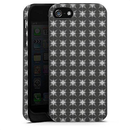 Apple iPhone X Silikon Hülle Case Schutzhülle Muster Schwarz Grau Geometrisch Tough Case matt