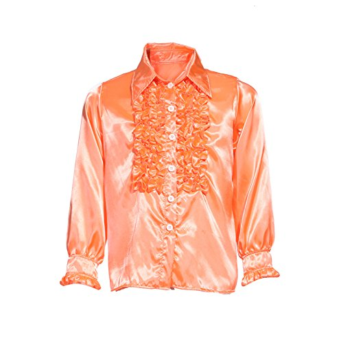 s Disco Rueschenhemd Kostuem Glanz Schlager Hemd Party Retro Herrenhemd Herren Kostuem (70er Disco-shirts)