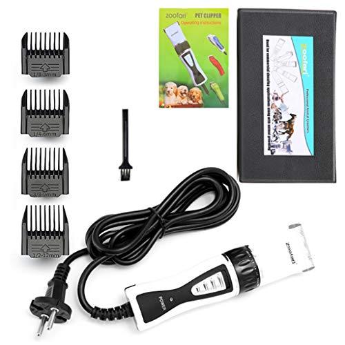 MZP Pet Grooming Clipper, 7 Accessori 3w 5 velocità Basso Rumore Vibrazione Cordless di Ricarica USB Tosatrice Elettrica per Cani 4 Pettine Testina Regolabile Forbici in Acciaio