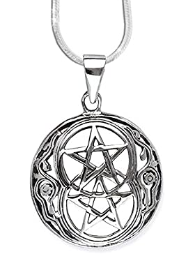 Anhänger Doppeltes Pentagramm Keltischer 925er Silber Schmuck - Schutz - mit 1,2mm Schlangenkette 45 cm Halskette...