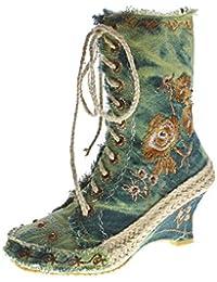 stahl-moden Damen Stiefeletten Keil Absatz Stiefel Wedges Stoff Schuhe  Batik-Look Muster variieren 22112a6ee3