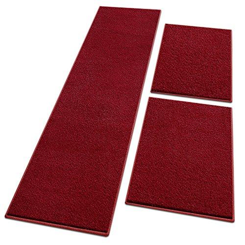 (Bettumrandung Noblesse | 3-tlg. Sets mit flauschigem Flor | schadstoffgeprüft, mit GUT-Siegel | Läufer / Brücken / Teppiche für Schlafzimmer (Beere, SET 2: 1 mal 67x330 cm und 2 mal 67x130 cm))