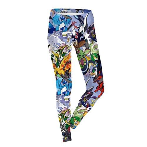 MAOYYMYJK Yoga-Hose Für Damen Pokemon Damen Leggings Slim Dünne Füße Hose D1618