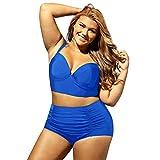 Frauen Große Größe Badeanzug Vintage Sexy Niedriger Kragen Falten Hohe Taille Bikini Split Badeanzug Blau,XXL