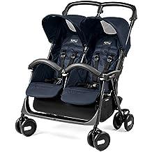 Peg Perego Aria Twin Shopper - Silla de paseo con capota, barra frontal y cestilla incluida