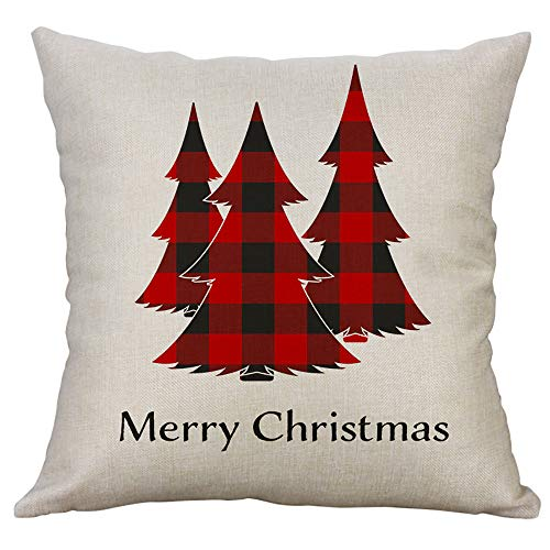Sayla Weihnachten Deko Kuschelweiche Kissenbezug 40x40 cm Schneemänner Weihnachten Winter Dekokissen Kurzvelours Soft Touch Kissenbezug Kissen (A) -