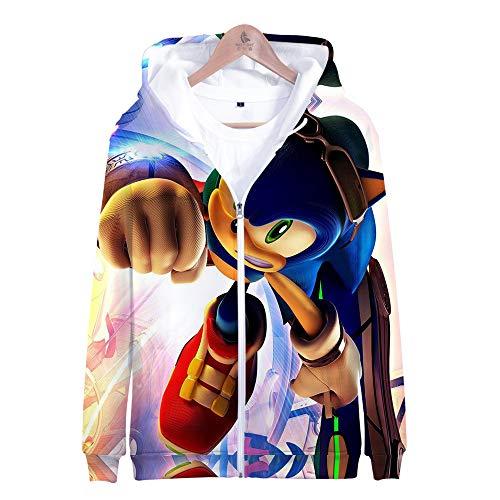 Kostüm Sonic Mädchen Kind - KIYOUMI 3D Gedruckter Hoodie, langärmeliges Sweatshirt mit Kapuze, Unisex-Strickjacke mit Reißverschluss, Sonic Digital Print Zip Pullover,B,S