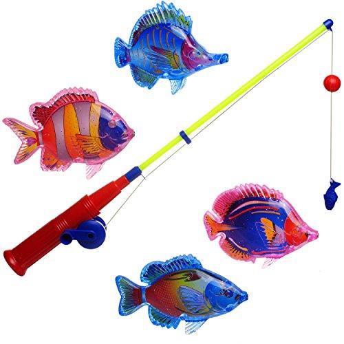 alles-meine.de GmbH 3 * 5 TLG. Set _ großes Magnet - Angelspiel - WASSERFEST -  mit 4 großen Fischen  - drehbare + magnetische Angel - für Kinder - Fische Angeln - Badewanne Sp..