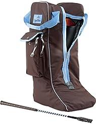 Equi-Theme bolsa para botas, Choco-Light Blue Piping