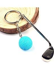 marketboss delicado Llavero con pequeño pelota de golf y club Buena Llavero para colgar llaves Combinación perfecta regalo ideal para los miembros de la familia y amigos (Blanco), azul