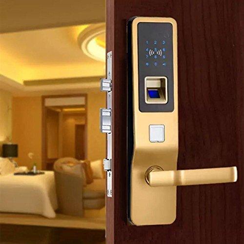 TDJDYQ Zinklegierung Biometrie Intelligent Elektronik Türschloss Fingerabdruck Passwort/Mifare-Karte/Mechanischer Schlüssel Keyless-Zugang Verwendet für zu Hause Sicherheitstür, Gold