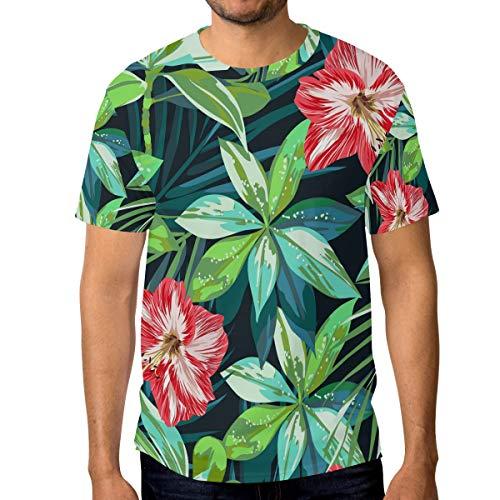 T-Shirt für Männer Jungen Tropical Jungle Flower Blossom Benutzerdefinierte Kurzarm -