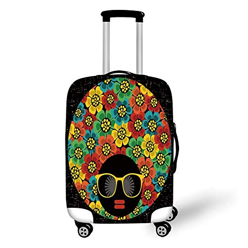 Travel Luggage Cover Suitcase Protector,70s Party Decorations,Abstract Woman Portrait Hair Style with Flowers Sunglasses Lips Graphic Decorative,Multicolor,for Travels 19x27.5Inch
