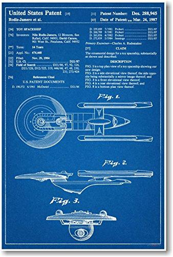 Star Trek Raumschiff Enterprise Patent–NEU berühmten Erfindung Blueprint Poster