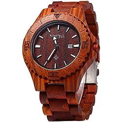 Leopard Shop Bewell Men Quartz Watch Date Display Luminous Pointers Wooden Red Sandalwood