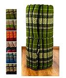 Kapok Rollmatte in 190cm x 75cm x 4,5cm der Marke Asia Wohnstudio; Liegematte bzw. Yogamatte, Thaikissen, Thaimatte als asiatische Rollmatratze (grün)