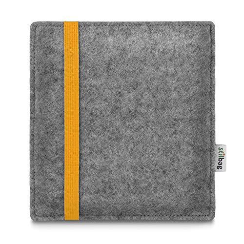 stilbag e-Reader Tasche Leon für Amazon Kindle Oasis (9. Generation), Wollfilz hellgrau - Gummiband gelb