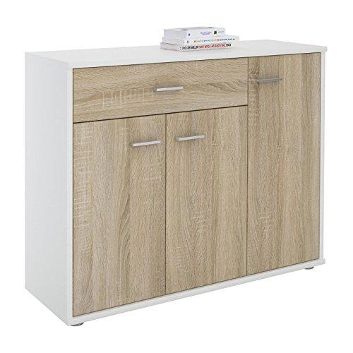 CARO-Möbel Kommode Estelle Sideboard Mehrzweckschrank,weiß/Sonoma Eiche mit 3 Türen und 1 Schublade, 88 cm breit