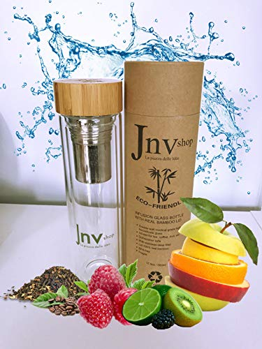 Jnvshop Tea Infuser Flasche und Saftpresse Glas - 500 ml Fläschchen - Beste BPA-freie Wasserflasche - Saft oder Teeflasche für heiße und kalte Flüssigkeiten (Glas-infuser)