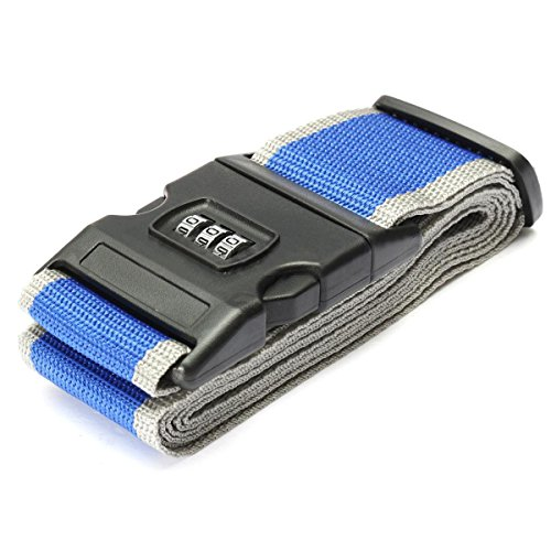 cinghie bagagli - TOOGOO(R)Sicurezza Cinghia Cintura Serratura Combinazione Valigia Viaggi Bagagli Fascia colore:Blu+Grigio