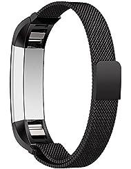 XCSOURCE® Magnetisches Milanese Ersatzband Edelstahl Verstellbares Armband (Schwarz) für Fitbit Alta HR und Alta TH630