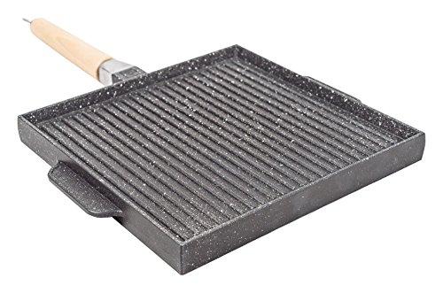 Sirio double face grill quadrato doppia cottura, metal, nero