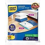BigOwl Hand Vacuum Bags with Travel Pump Set 6 Pack Variety (3 JUMBO, 3LARGE)