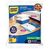 BigOwl Plastic Smart Saver Hand Vacuum Bags with Travel Pump 6 Variety Pack (3 X Jumbo, 3X Large, Blue)
