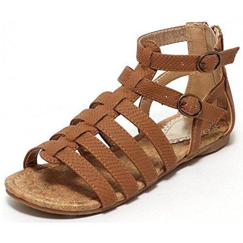 Mädchen Römersandalen Sandale Gr. 34 Riemchensandalen Sandalette Schuhe braun (34)