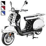 Znen Retro Star Motorroller ZN125T-27 125 cc Euro 4 Retro Roller Motor Roller Motorrad Sportroller 85km/h (Schwarz/Weiß)