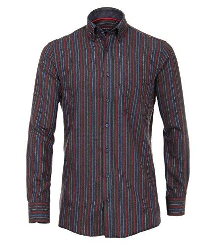 Casa Moda - Comfort Fit - Herren Flanell Freizeit Hemd mit Button Down Kragen in Rot gestreift (472859900), Farbe:Rot (400), Größe:XXL (Button-down-flanell)