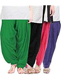 Crafts 100% Pure Solid Cotton Semi Patiala Salwar Bottoms Indoor Outdoor For Women's & Girls( Color Green / Baby... - B0764CY5FL