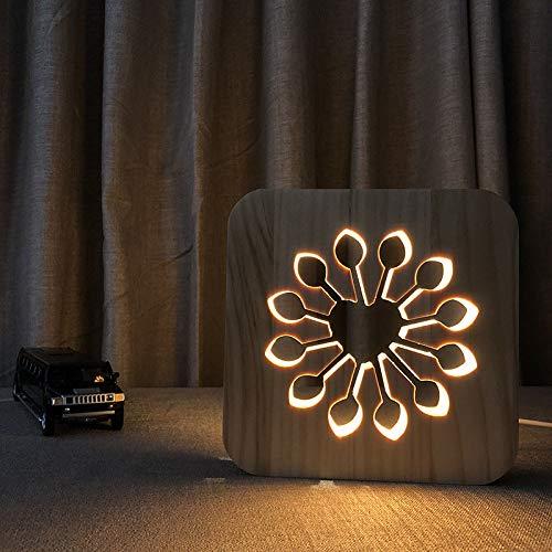 Kindergarten Nachtlicht Blume Form Holz Lampe Led Handwerk Lampe Massivholz Hohl Carving Tischlampe -