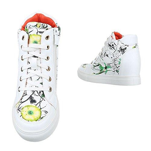 Ital-Design High-Top Sneaker Damen Schuhe High-Top Keilabsatz/Wedge Sneakers Reißverschluss Freizeitschuhe Weiß Multi