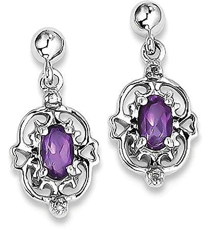 IceCarats 925 Sterling Silver Purple Amethyst Diamond Post Stud Earrings Drop Dangle