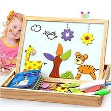 Juguetes educativos MWZ bebé multifuncional escuela Granja animal de la selva del rompecabezas juguetes magnéticos de madera para los niños del bebé del rompecabezas tablero de dibujo de caballete 3D pintura en madera Juguetes creatividad a partir de 3 años(A)