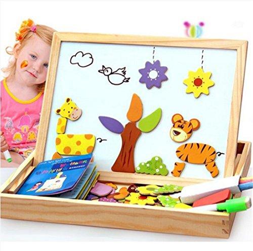 Preisvergleich Produktbild MWZ Baby Lernspielzeug Multifunktionale Educational Farm-Dschungel-Tier Holz magnetischen Puzzle Spielzeug für Kinder Kinder Puzzle Babys Zeichnung Staffelei Brett 3D Holz malen Kreativität Spielzeug ab 3 Jahren (A)