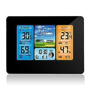 ONEVER Funkwetterstation Digital Color Forecast Wetterstation Mit Alarm und Temperatur/Feuchte/Barometer/Alarm/Mondphase…