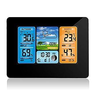 Houkiper Estación Meteorológica de Pronóstico de Color Digital con Temperatura/Humedad/Barómetro/Alarma/Reloj Meteorológico Alertas