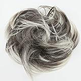 PRETTYSHOP Haarteil Haargummi Hochsteckfrisuren unordentlicher Dutt leicht gewell grau blond mix #9T613 G21B