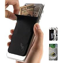 Gecko–Funda para teléfono Cartera y bloqueo RFID, un adhesivo elástico lycra tarjeta soporte universal compatible con la mayoría de teléfonos móviles y casos. Xtra Tall bolsillo cubre totalmente tarjetas de crédito y efectivo negro Black-Gray
