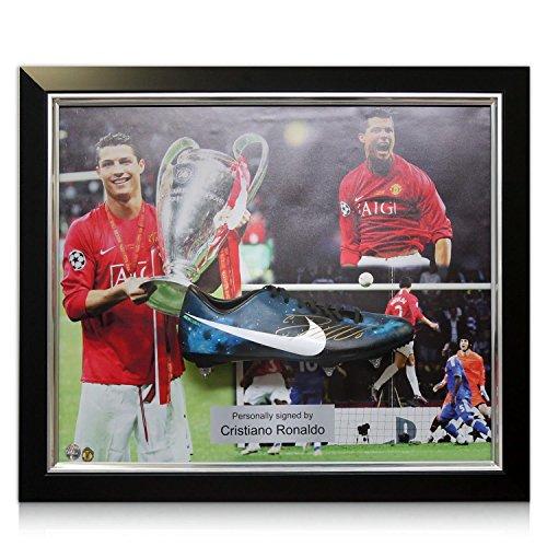 Exclusive Memorabilia Fußballschuh von Cristiano Ronaldo unterzeichnet: Manchester United Präsentation. Eingerahmt