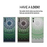 kwmobile Hülle für Sony Xperia XZ / XZs - TPU Silikon Backcover Case Handy Schutzhülle - Cover klar Indische Sonne Design Grün Weiß Transparent -