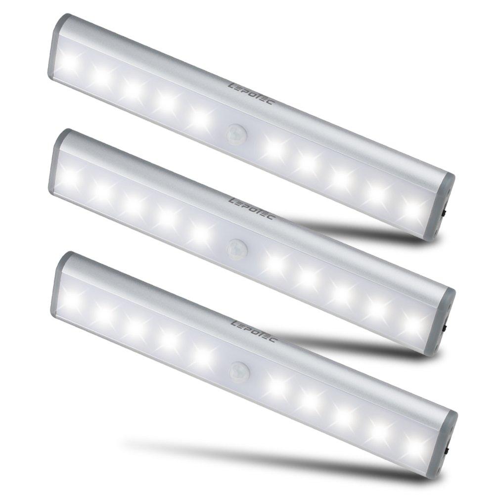 3er Set 10 LED USB Unterbauleuchte, Schrankleuchte mit Sersor ...