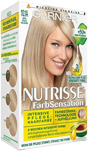 Garnier Nutrisse Creme Coloration Extra Kühles Hellblond 10.1A, Färbung für Haare für permanente Haarfarbe (mit 3 nährenden Ölen) - 3er Pack (3 x 1 Stück