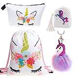 DRESHOW Unicorn Gift Sets Girls Mochila con cordón ajustable/Collar/Bolso de maquillaje/Llavero/Pulsera/Corbata para el cabello
